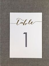 12 Gold Foil Table Numbers 5x7 - 1 through 12