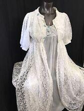 Vtg peignoir set robe gown wedding double chiffon sheer lace acetate nylon GMC L