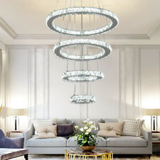 New ListingAdjustable Modern Chandeliers Crystal Pendant Lamp Round Ceiling Light Ring Led