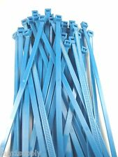 """CABLE TIES WIRE TIES FLUORESCENT BLUE NYLON 7""""  LOT OF 100 NEW MADE IN USA"""