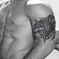 2 Pcs Tatouage Tattoo Forme Loup Temporaire Bras Corps Art Autocollant Sticker