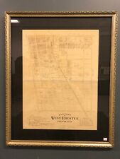 """19th Century East Ward Of West Chester Chester Co PA Framed Map 32 1/2"""" X 26 1/2"""