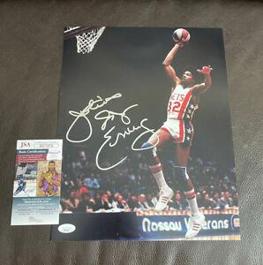 "Julius ""Dr. J"" Erving Signed Autographed 11x14 Photo + JSA Coa New York Nets"