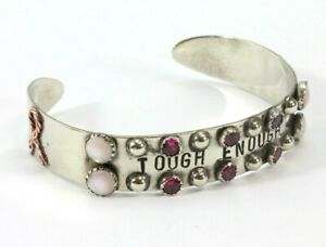 """BREAST CANCER AWARENESS Pink Ribbon Silverplate Cuff Bracelet """"Tough Enough"""""""