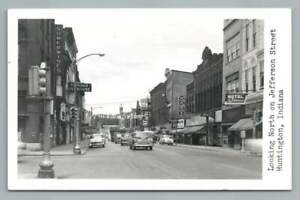 Jefferson Street HUNTINGTON Indiana RPPC Vintage Photo Postcard 1950s