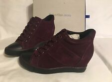 Calvin Klein Women's VOSS SUEDE Wine Red Wedge Shoes RE9359 Uk 6 Us 8 Eu 38 BNIB