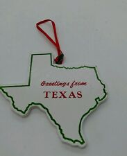Greetings From TEXAS State Shaped Vintage Wooden Map Christmas Tree ORNAMENT