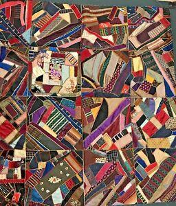 "Vintage Handmade Crazy Quilt Lap Patchwork Silk Satin 64""x64"" Square Needs TLC"