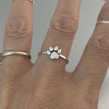 Sterling Silver Heart Paw Print  Ring, Silver Rings, Dog Ring, Kids Ring