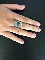 Ring Bohemian Silver Green Jade Hippie Boho Gypsy Folk Cuff Tribal R1029