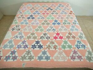 MUCH USED & WASHED Vintage Feed Sack THREE SISTERS 3 Stars Hand Sewn Quilt; FULL