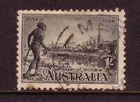 AUSTRALIA....  1934  1/- aborigine and yarra river used,  perf 12½