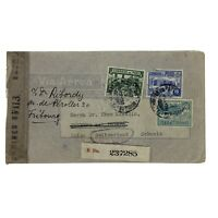 1945 PERU EXAMINED COVER TO FRIBOURG SWITZERLAND WITH NEW YORK & MIAMI CANCELS