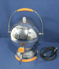 Vtg Antique Art Deco Chrome Butterscotch Bakelite Coffee Percolator Maker w/Cord