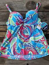 NWT Maidenform Size S 34C 36B Bright Paisley Push Up Bra Tankini Swim Suit Top