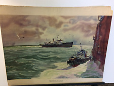 Rare Original Print by John Pike - 'Taking on the Pilot - Port of NY' 1972