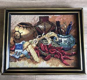 """Native Southwest Needlepoint Cross Stitch Art Framed No Glass 16"""" X 13"""" Vintage"""