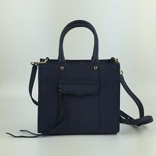 REBECCA MINKOFF NAVY BLUE MINI MAB Crossbody Bag Gold Tone Hardware Long Strap