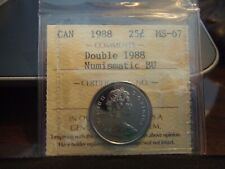 CANADA 25 CENTS 1988 DOUBLE DATE, DOUBLE 1988, ICCS PL-67 !!!!!!