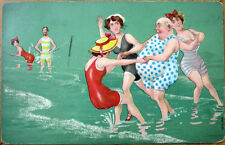 1907 Risque Postcard: Bathing Beauties Dance w/Fat Man - Embossed, Color Litho