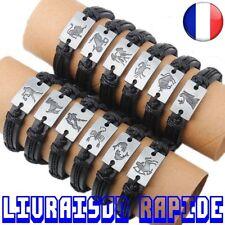 Bracelet Cuir Femme Homme Charme Zodiaque Bijoux Horoscope Astrologie Cadeau