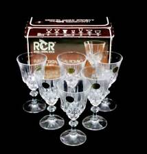 Vintage RCR Royal Crystal Rock lead crystal set of 6 120ml sherry glasses in box