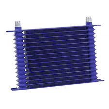 15 ROW AN-10 POWDER-COATED ALUMINUM ENGINE TRANSMISSION OIL COOLER BLUE