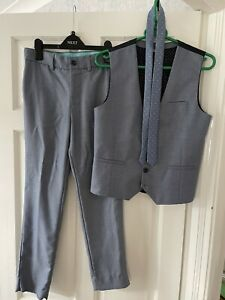 Boys Next Signature Tailored Blue 3 Piece Suit Trousers & Waistcoat Age 13 Years