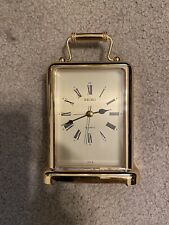 Seiko 6 Inch Gold Tone Brass Carriage Mantel Clock Made In Japan! Excellent Con.