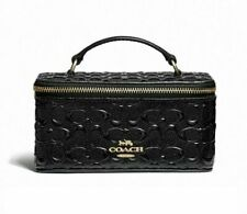 COACH Jewelry Vanity Case Travel Signature Enamel Shiny Black W Gold NEW