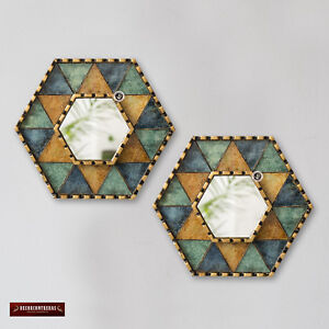 Handmade Star of David Wall Mirror set 2, Painted glass Mirror with gold leaf