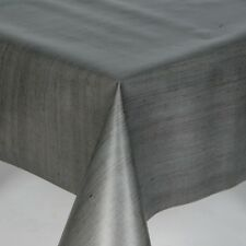 MILANO PLAIN STRIPE GREY LINEN TEXTURED LOOK PVC PLASTIC VINYL TABLE CLOTH COVER
