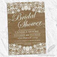 Lace and Burlap Bridal Shower Invitations /  Shabby Rustic Country PRINTED