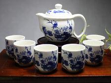 """Chinesisches Teeservice Porzellan """"Vogel im Blütenmeer"""", blau-weiß, asiatisch"""
