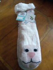 BNWT Muk Luks Pink Bunny Fluffy Lined Long Cabin Socks S/M with Jojoba Oil
