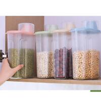 4Pcs Plastic Cereal Dispenser Storage Box Kitchen Food Grain Rice Container Tool