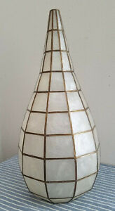 "VTG* MCM* 60s* Capiz Shell Craft* NOS* 17"" tall* pendant lamp shade*"