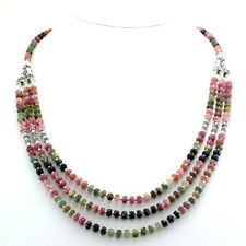 Necklace natural multi tourmaline beaded gemstone 925 solid sterling silver 43gm