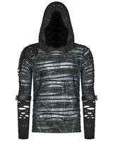 Punk Rave Mens Dieselpunk Hooded Top Black Blue Gothic Dystopian Armour Hoodie