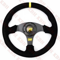 330mm Flat Racing Steering Wheel Black Suede Leather Stitch Fits OMP Hub NRG