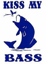 Kiss My Bass-Coche, Furgoneta, barcos de pesca, cajas De Asiento Calcomanía Adhesivo Gracioso,