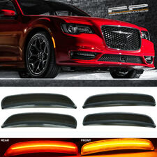 For 2015-2019 Chrysler 300 4 Pcs Front & Rear Smoked Lens LED Side Marker Lights
