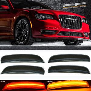 For 2015-2019 Chrysler 300 4 Pcs Front & Rear Smoked Lens LED Side Marker Lights