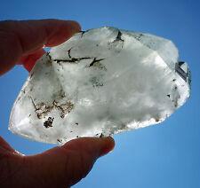 Clear Quartz Elestial Crystal Freeform DT GREEN Chlorite Phantom Point Stone