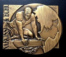 LARGE BRONZE ART- DECO MEDAL WITH SEMI NUDE MAN, FLOWERS, NARCISSI & ECHO / M97