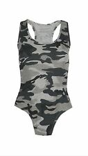WOMEN LADIES CAMOUFLAGE LEOPARD PRINT BODYSUIT LEOTARD RACER BACK SLEEVELESS TOP