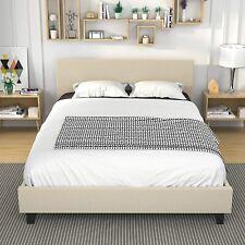 Queen Size Platform Metal Bed Frame Upholstered Linen Headboard Wood Slats Beige