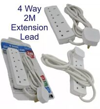 4 Way Mains Electric Extension Lead 4 Gang 2m Meter Cable 13a UK Plug 4 Sockets