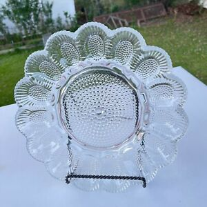 Vintage Indiana Glass Crystal Happenings Egg Relish Tray Platter 11in Diameter