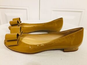 Kate Spade New York Women Patent Leather Nude Slip On Bow Flats Shoes Size 7B